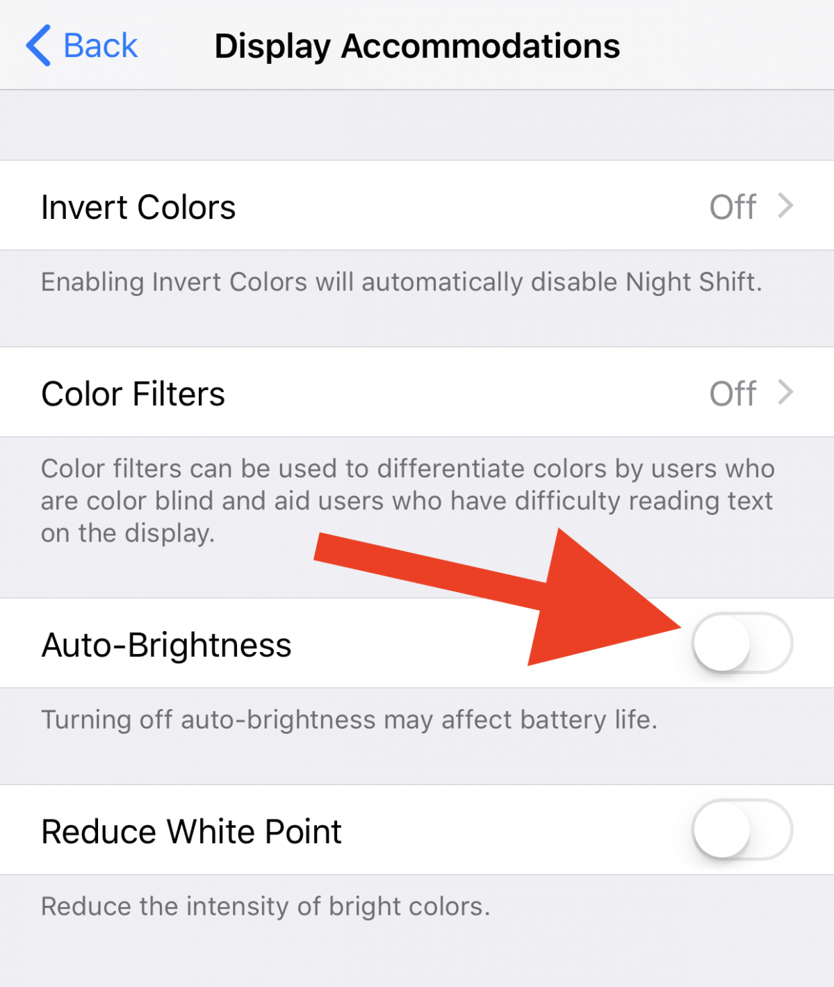 2. Another change you may notice is that Apple has hidden the ability to manually set the brightness of your screen. The option can now be found under General > Accessibility > Display Accommodations in the Settings app.