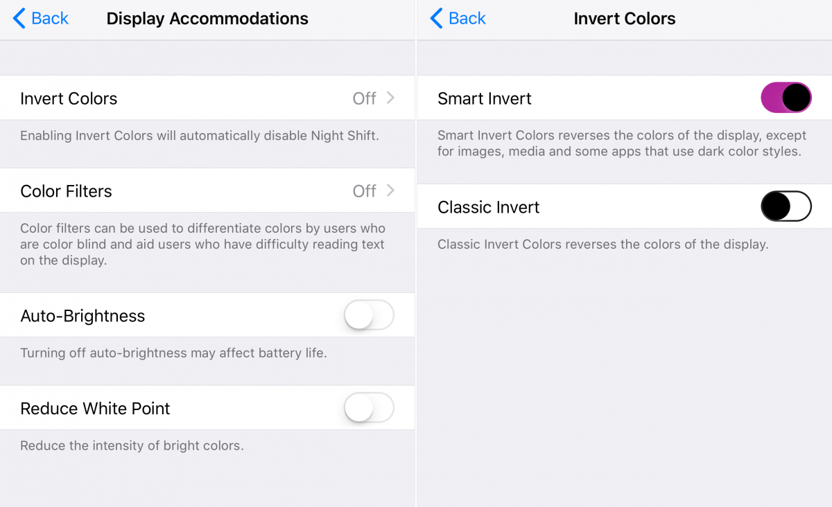 10. In the Accessibility section of the Settings app, there's a new dark-mode setting.
