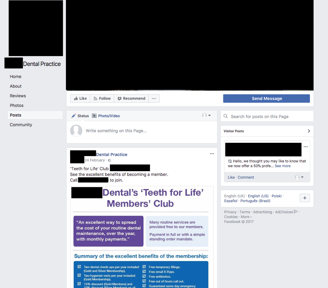 This dental practice hasn't posted to it's Facebook page since February