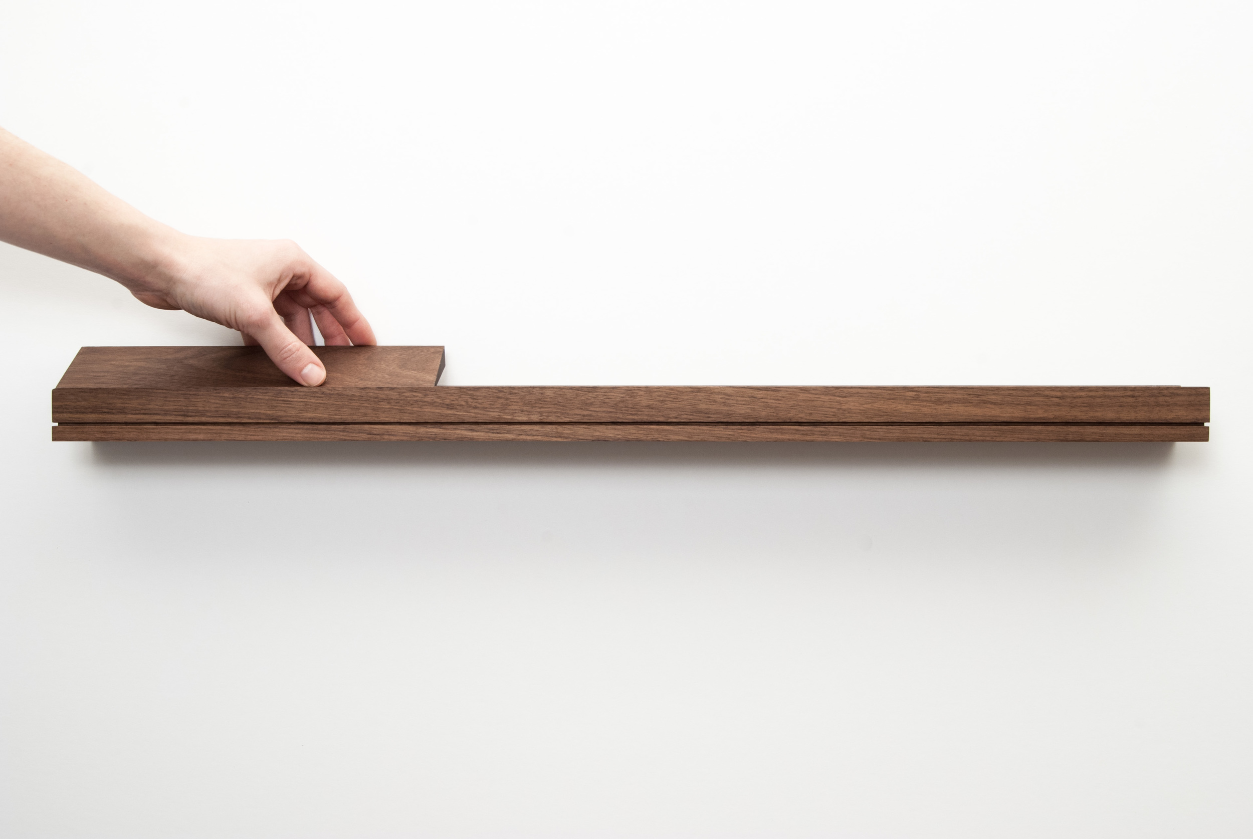 Modern Furniture Walnut Floating Shelf - SINGULAR wall console