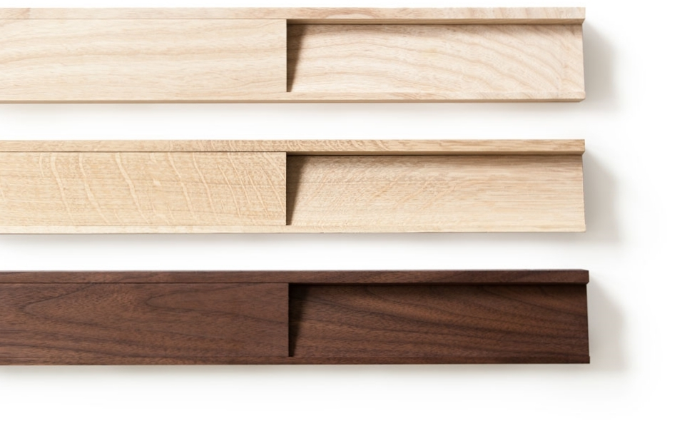 SINGULAR wall console wood types: ash, quarter sawn white oak, and walnut; oil and soap finish.