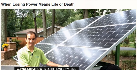 Nextek Power System's Wayne Gutschow displays the STAR solar unit on a Weather Channel video.