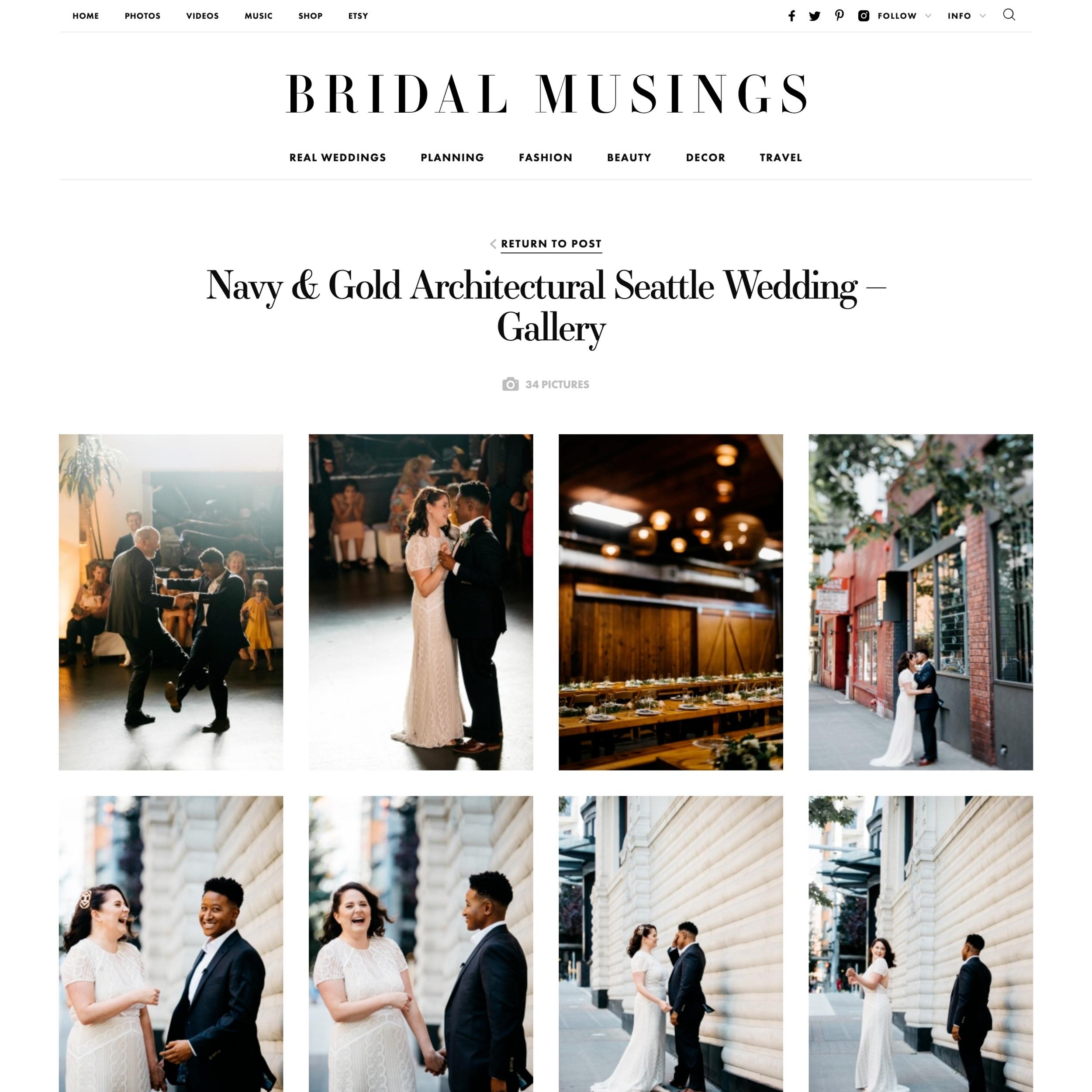 Jenna & Meridan featured on Bridal Musings - see full write-up here