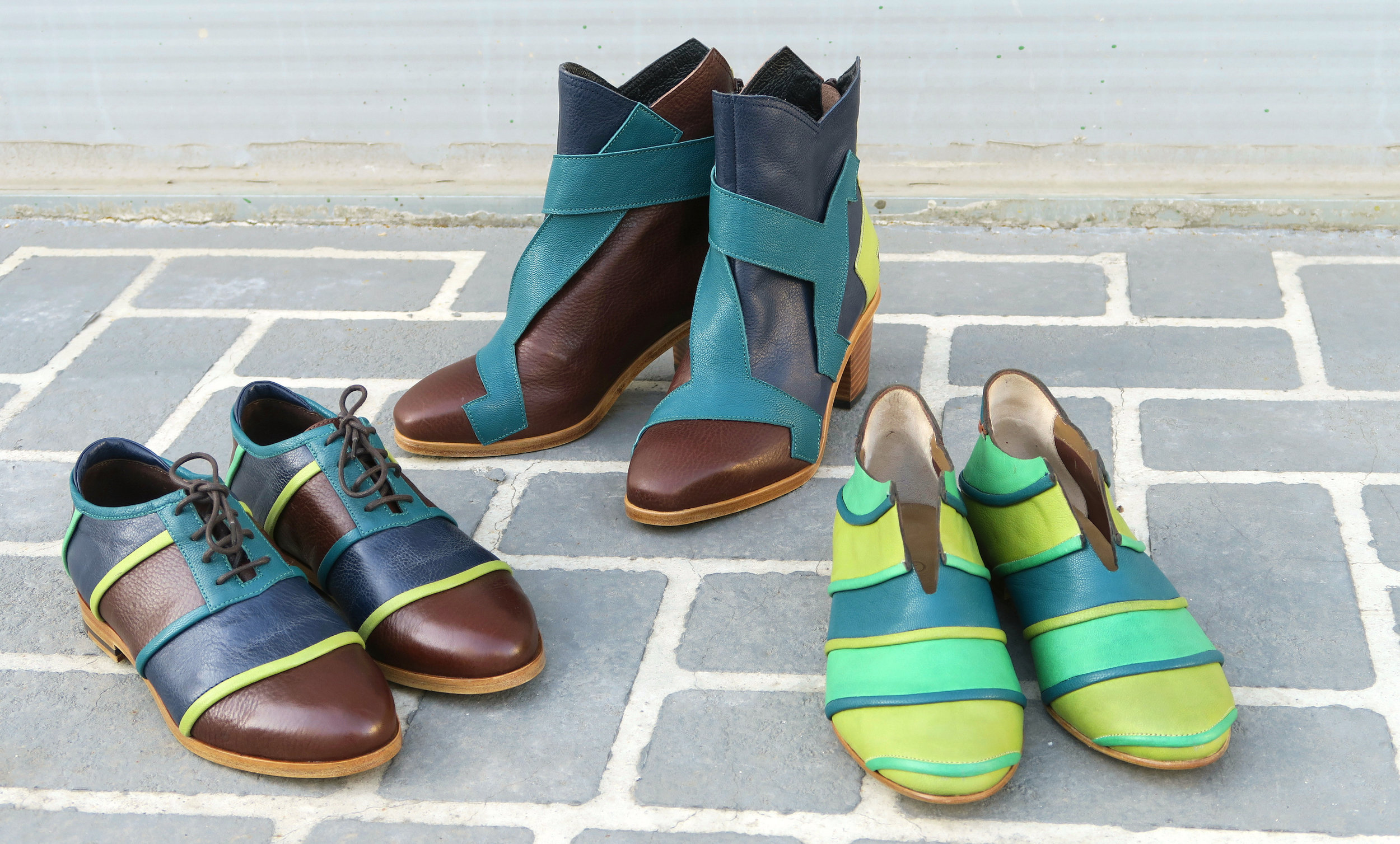 """L-R: Oxford """"City River,"""" Ankle Boot """"Bridge,"""" and Loafer """"Caterpillar"""" were designed by Gisela Insuaste and constructed by master craftsmen in Seongsu, Seoul."""