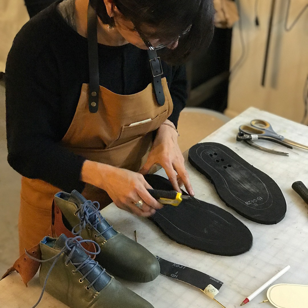 Measuring and then cutting out the rubber sole.Photo by BSS.