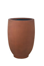 example of a tall egg grc planter rust wet metallic oxide finish