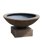 Example of a CHISELED bowl on a square Plinth in cast iron colour