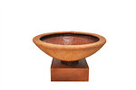 Example of a CHISELED bowl on a square Plinth in rust wet colour