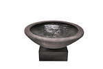 Example of a chiseled bowl on a square plinth in slate colour