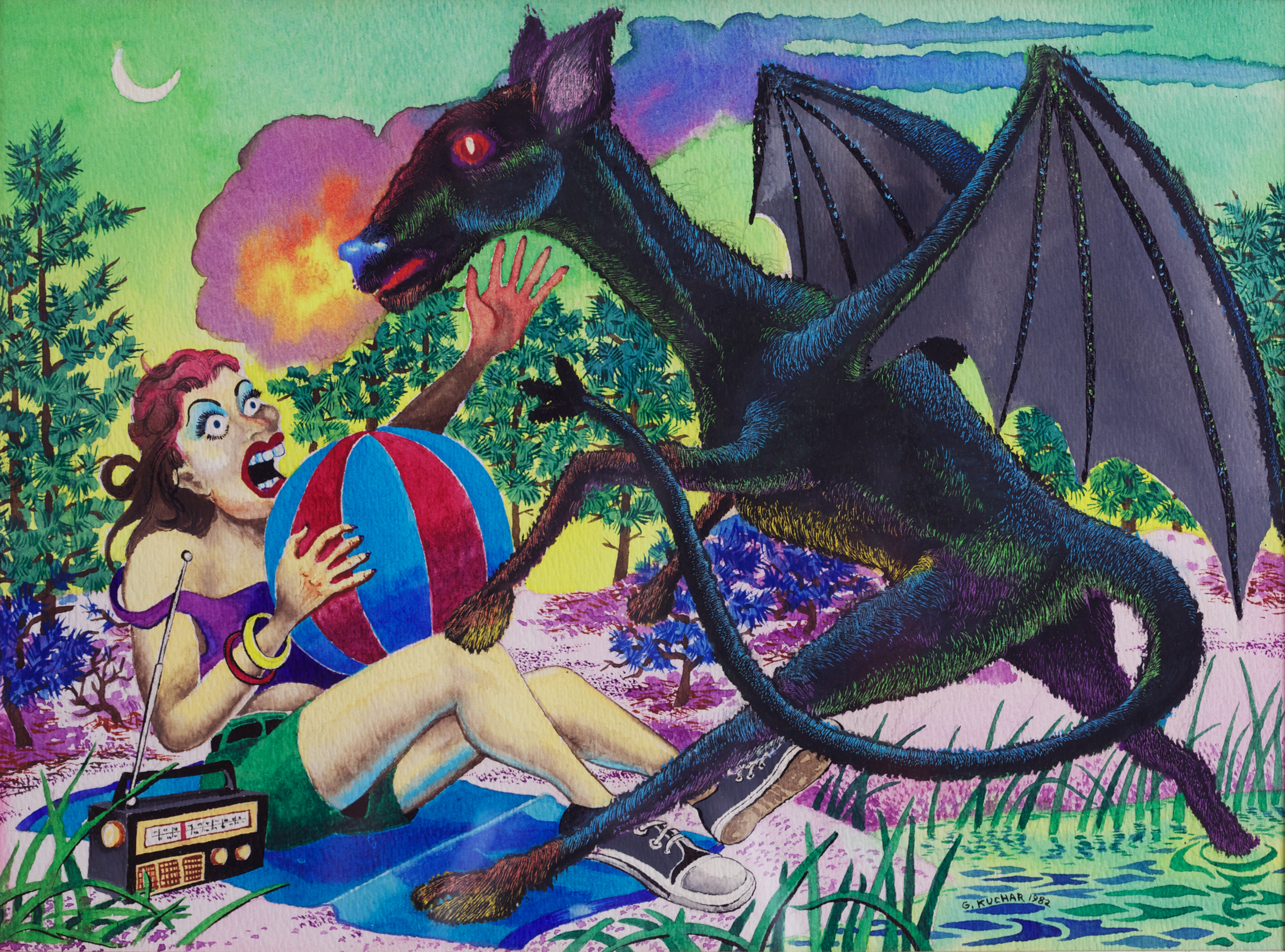George Kuchar,  Jersey Devil , 1982, watercolor on paper, 8 1/2 x 11 1/2 inches, © Kuchar Brothers Trust.