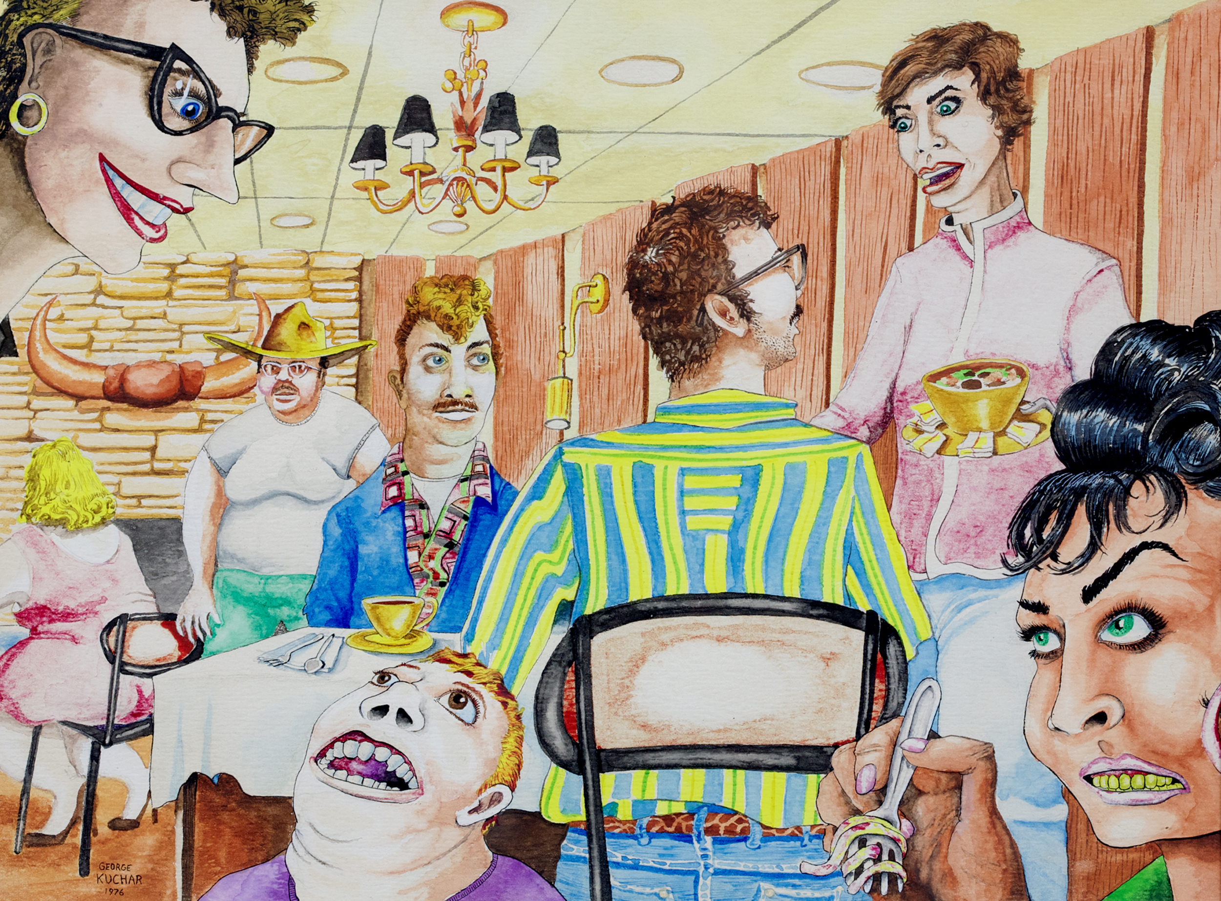 George Kuchar,  Chowdown in El Reno,  1976, watercolor on paper, 9 x 12 inches, © Kuchar Brothers Trust.