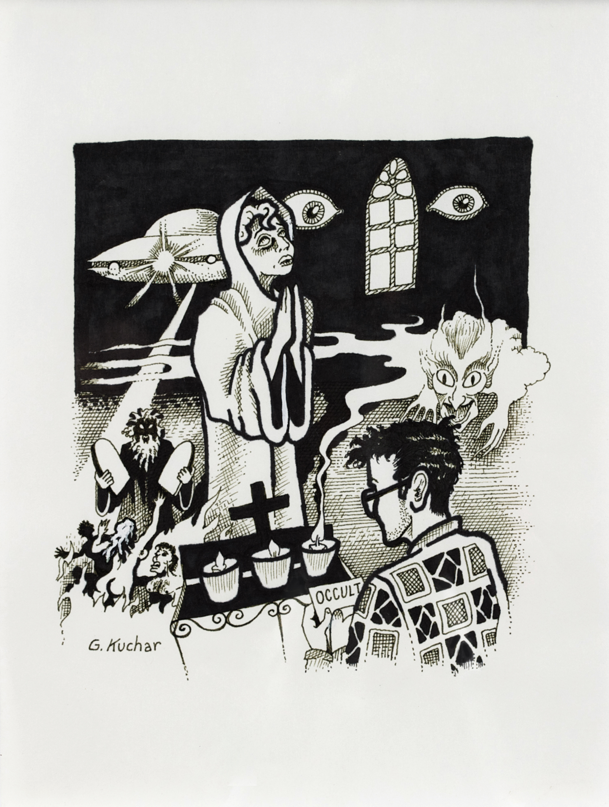 George Kuchar,  Holy Horrors , 1996, ink on paper, 12 x 9 inches, © Kuchar Brothers Trust.