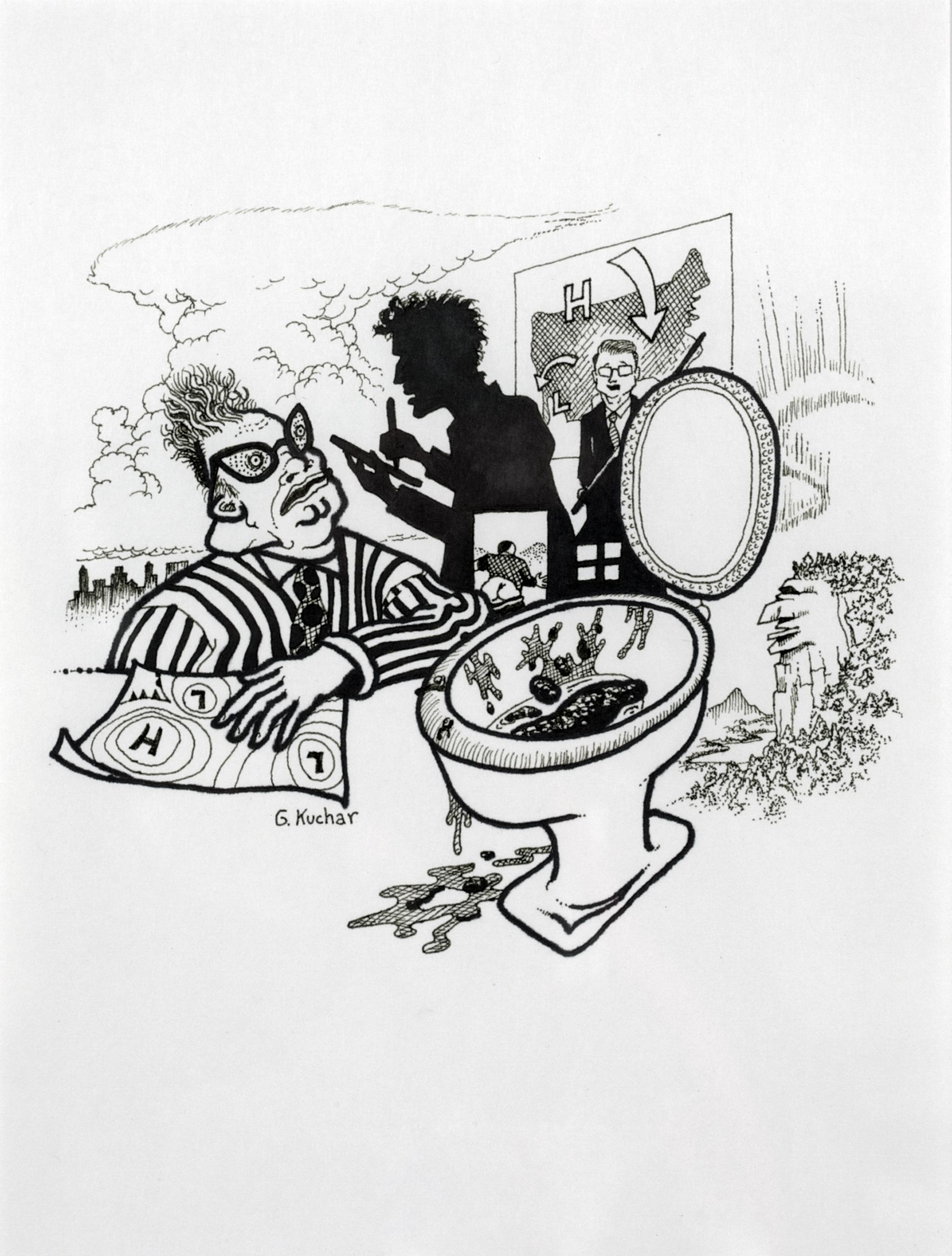 George Kuchar,  Livid Lumps , 1996, ink on paper, 12 x 9 inches, © Kuchar Brothers Trust.