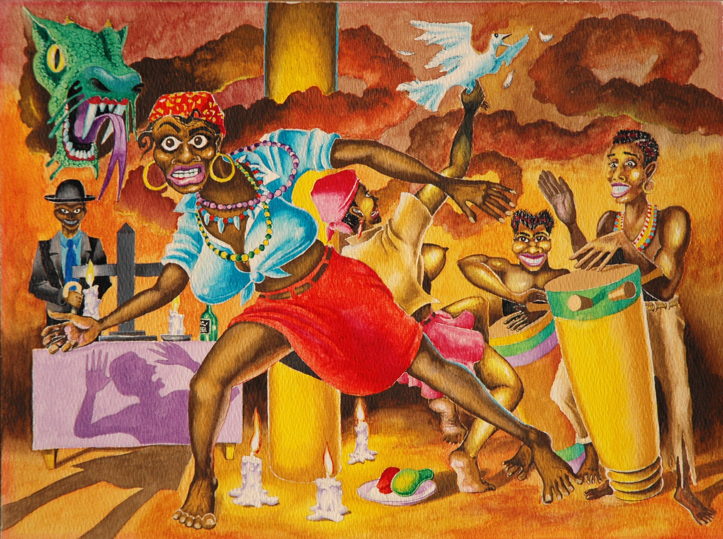 George Kuchar,  Trance of the Tropics,  1982, watercolor on paper, 8 3/4 x 12 inches, © Kuchar Brothers Trust.