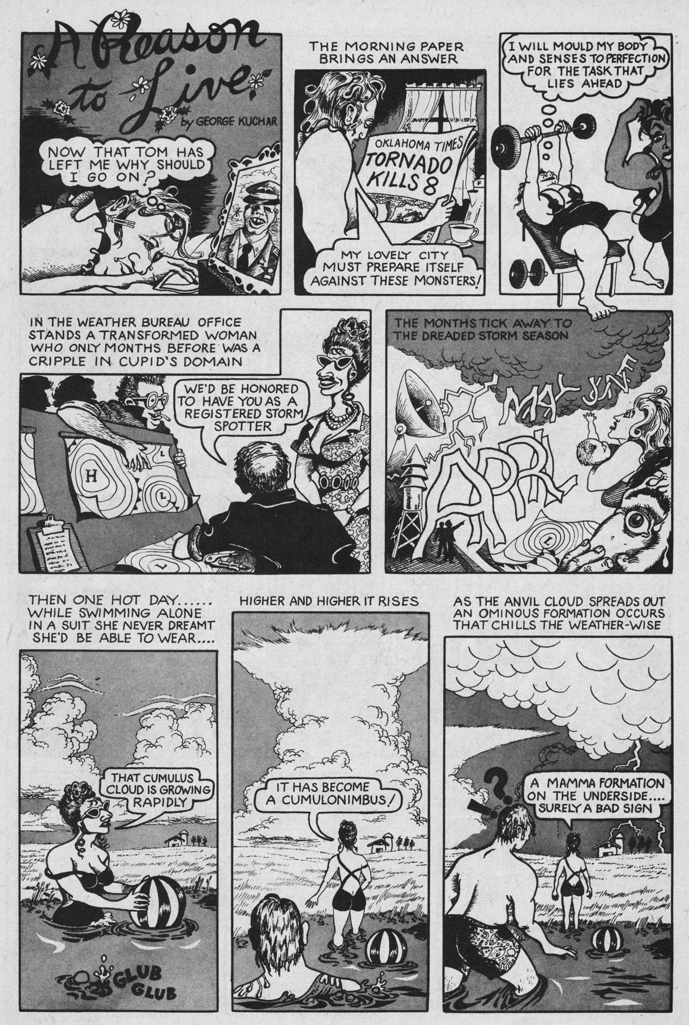 George Kuchar,  A Reason to Live , 1974, ink on paper, Short Order Comix No. 2, © Kuchar Brothers Trust.
