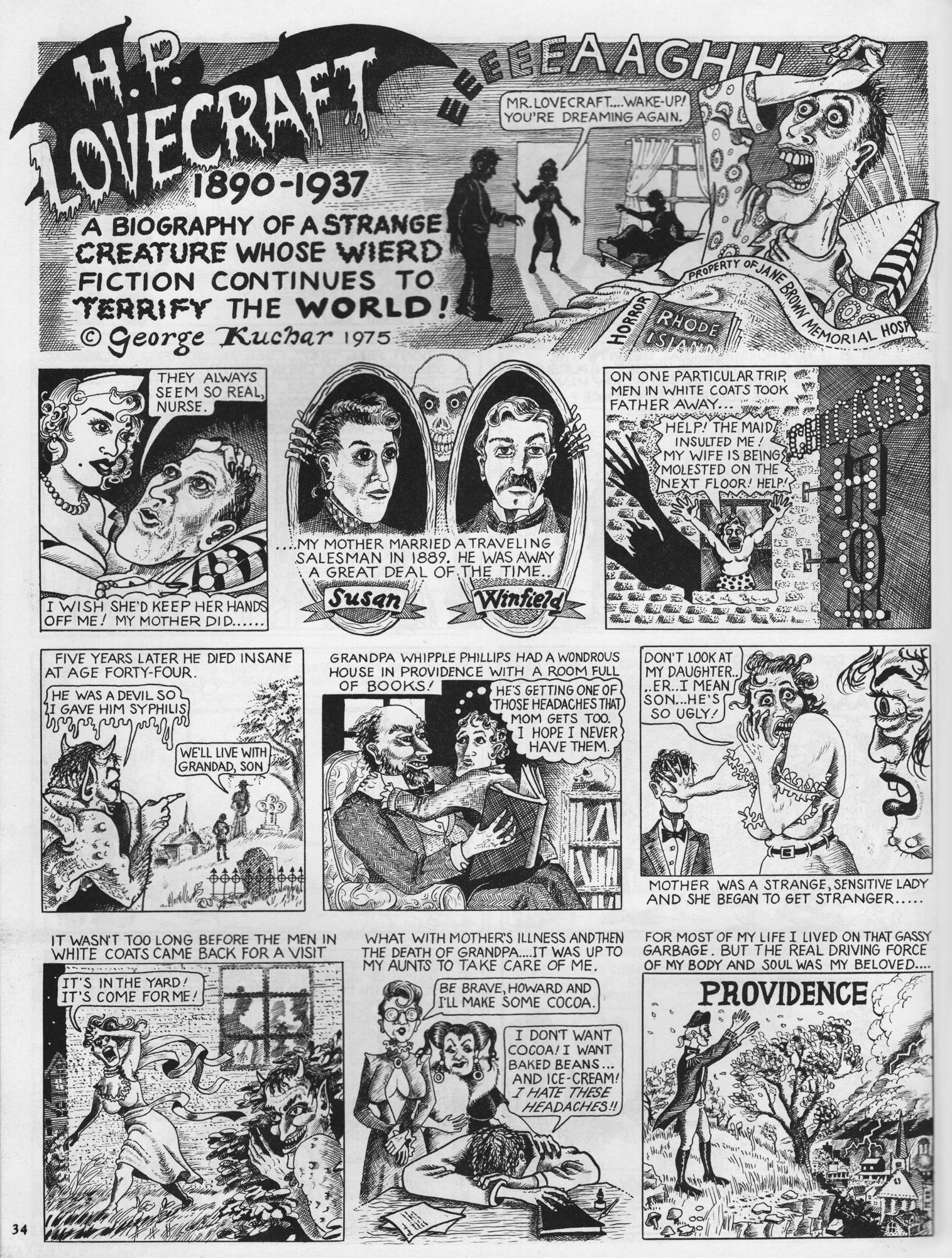 George Kuchar,  H.P. Lovecraft , 1975, ink on paper, Arcade, The Comics Revue No. 3, © Kuchar Brothers Trust.