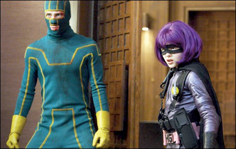 Aaron Johnson as Kick-Ass and Chloë Moretz as Hit Girl in  Kick-Ass .