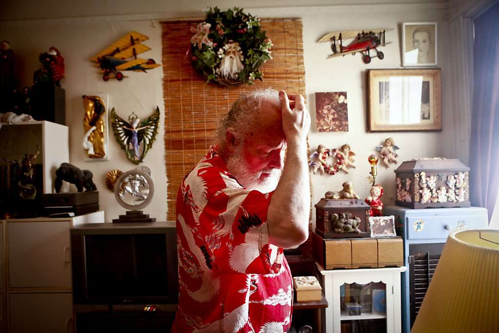"""Mike Kuchar, seen in his San Francisco, Calif., Mission district bedroom on Thursday, May 17, 2012, along with his late twin brother, George, was a star of the """"underground"""" film scene of the 1960s and '70s. (Photo: Russell Yip, The Chronicle)"""