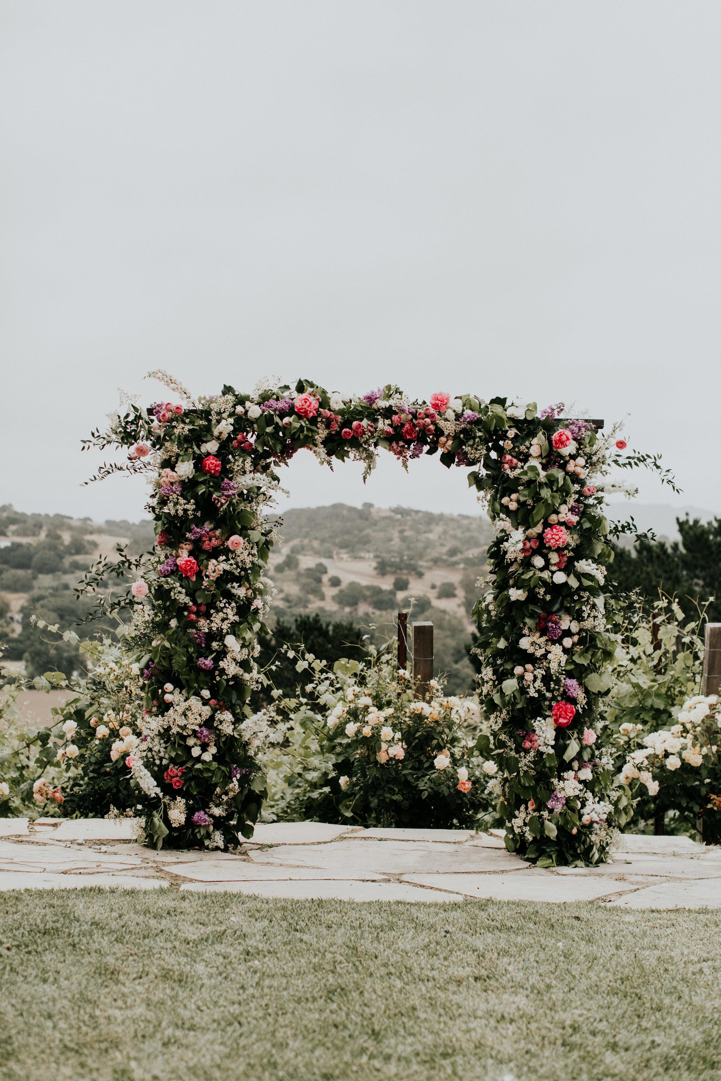Boho flower wedding arch