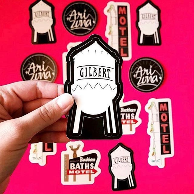 We just dropped off FIVE #gilbertwatertower stickers at @studio223az yesterday! Can't promise how long they'll be there, but go get them today before they're gone! (There's also a few Buckhorn bath stickers and tacos and donuts and a few other designs left in stock there!)