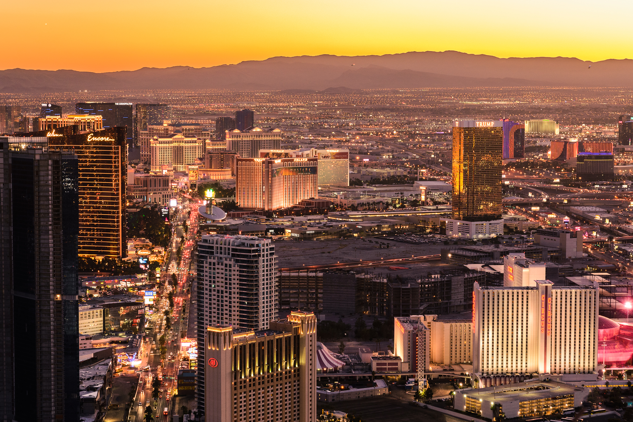 Down the Las Vegas Strip from the Stratosphere