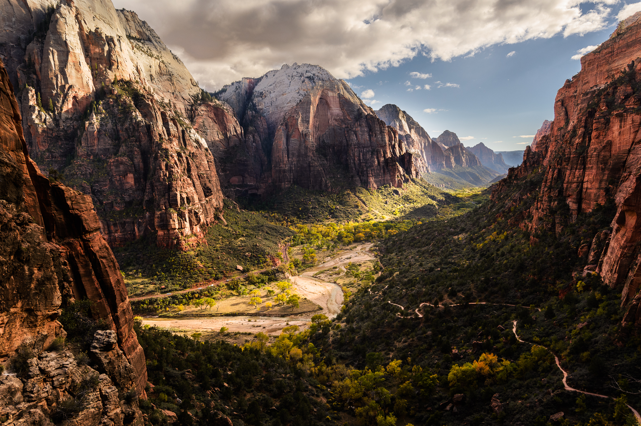 Virgin River snakes through the Zion Canyon