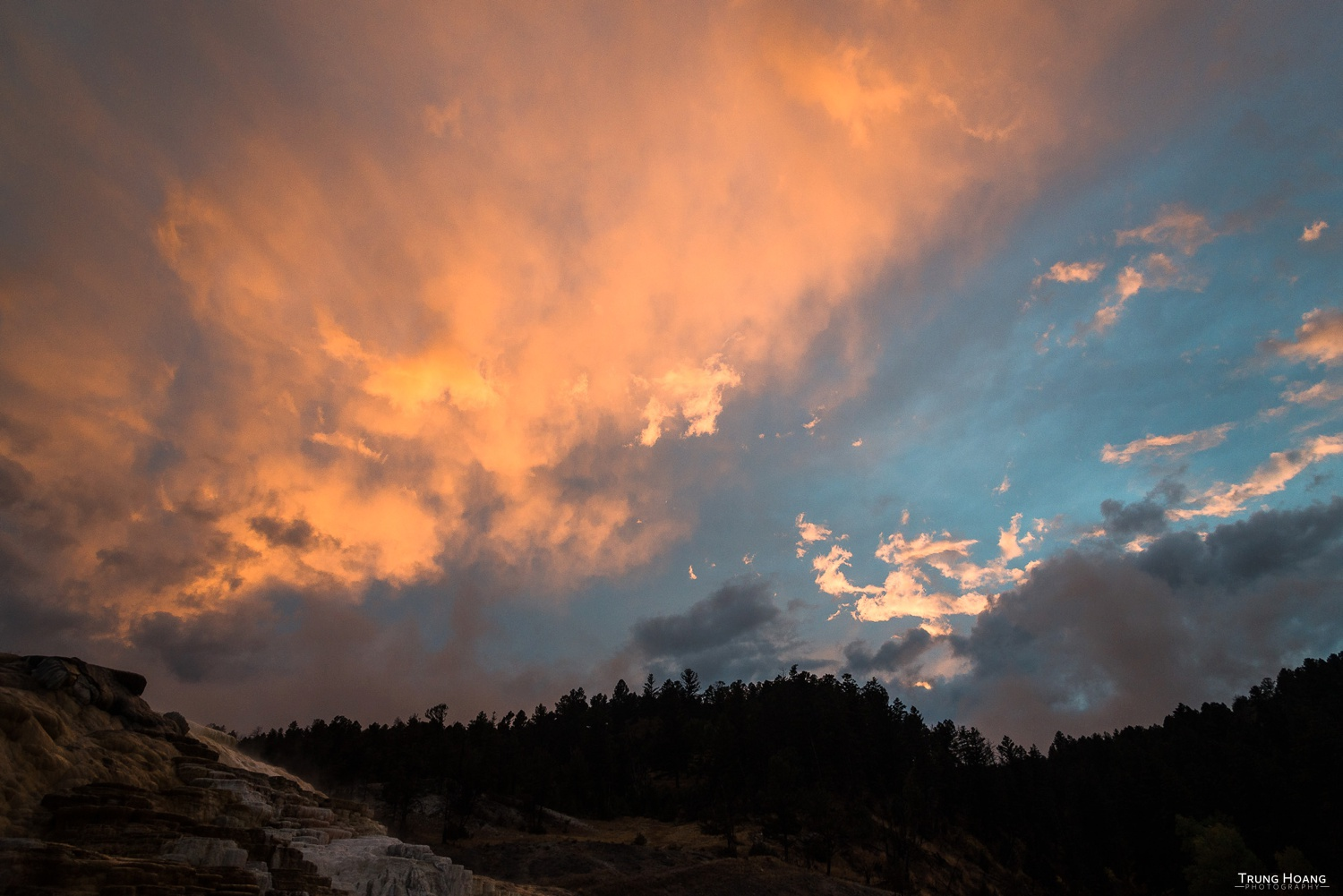 Sunset at Mammoth Hot Springs in Yellowstone National Park