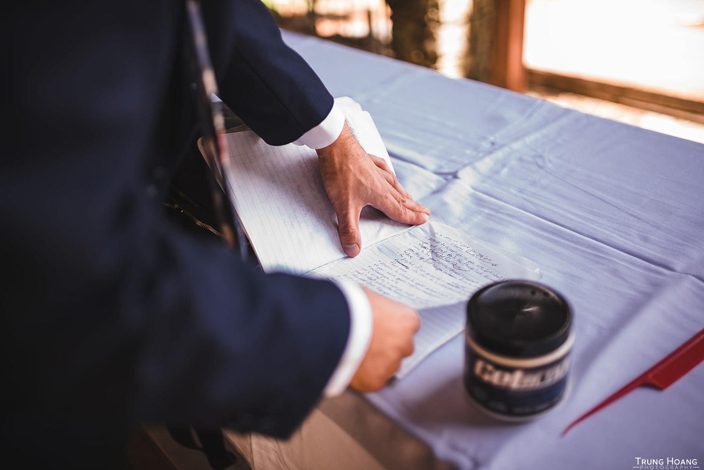 Groom preparing vows