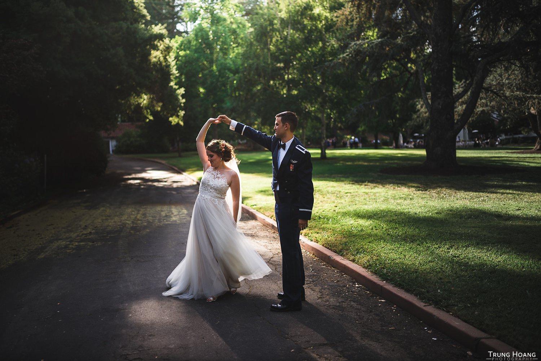Spinning dress wedding day photo