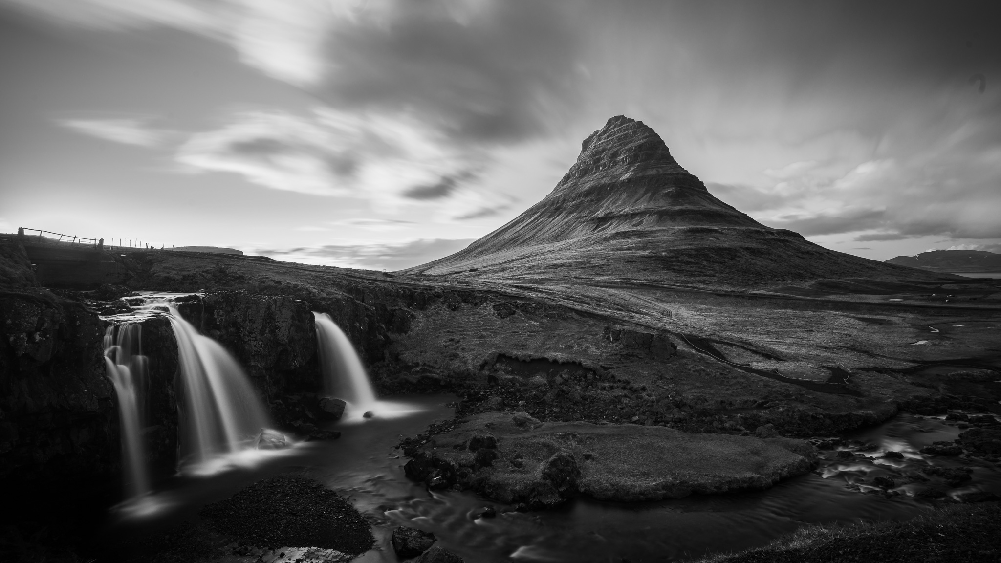 Long exposure of Mt. Kirkjufell and Kirkjufellsfoss in Grundarfjörður of the Snaefellsnes peninsula