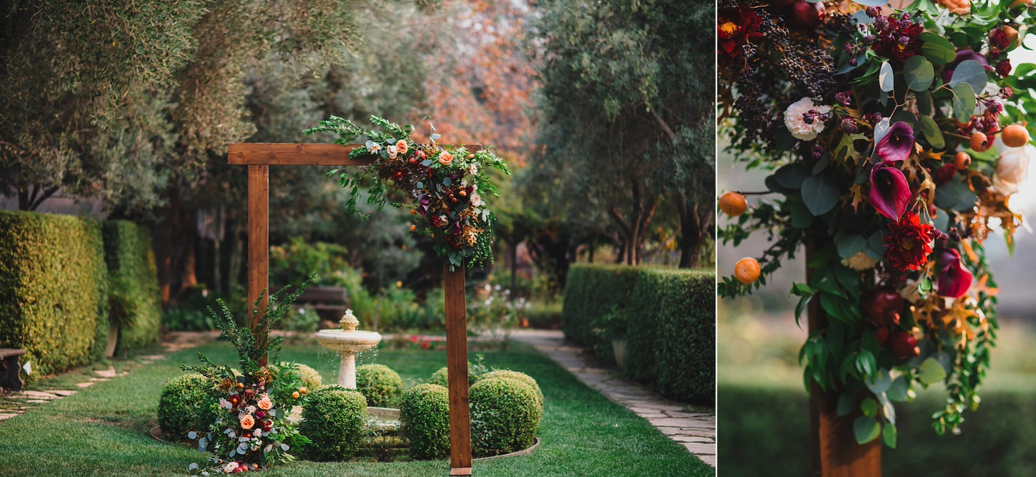 Wooden Wedding Arch with Flowers - Bellevue Floral Co Allied Arts Guild Wedding - Best Bay Area Wedding Photographers