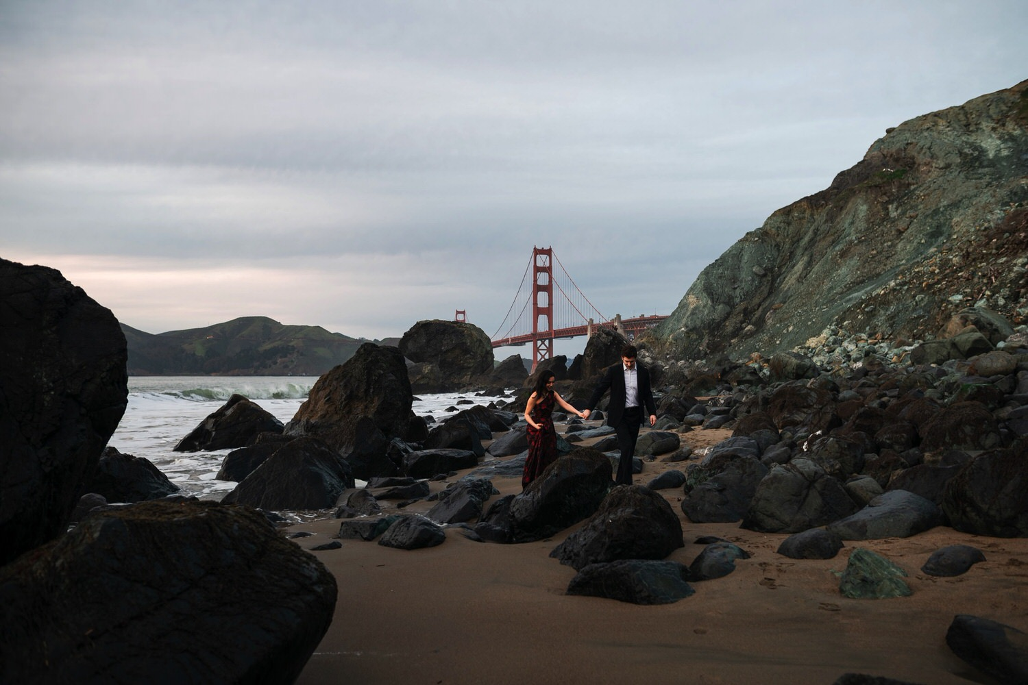 Golden Gate Bridge and Marshall's Beach Engagement Photos