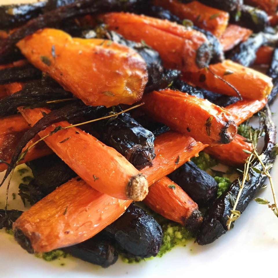 Turmeric Roasted Carrots  - The caramelization that comes from roasting root vegetables just fits with the warm colors and flavors of fall.  We love the combination of carrots with vibrant yellow turmeric and fragrant cumin, coriander and mint.