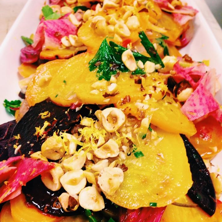 Roasted Beet Salad  - This roasted beet salad with pickled watermelon radish, toasted hazelnuts & truffle oil is nothing short of divine.