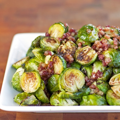 Roasted Brussels Sprouts with Bacon and Lemon -  This preparation of brussels sprouts is a fixture on our fall and winter dinner buffet.  We use Broadbent's Smoke House Applewood Bacon, slicing it thickly off a slab.  We sell out every time we make it.