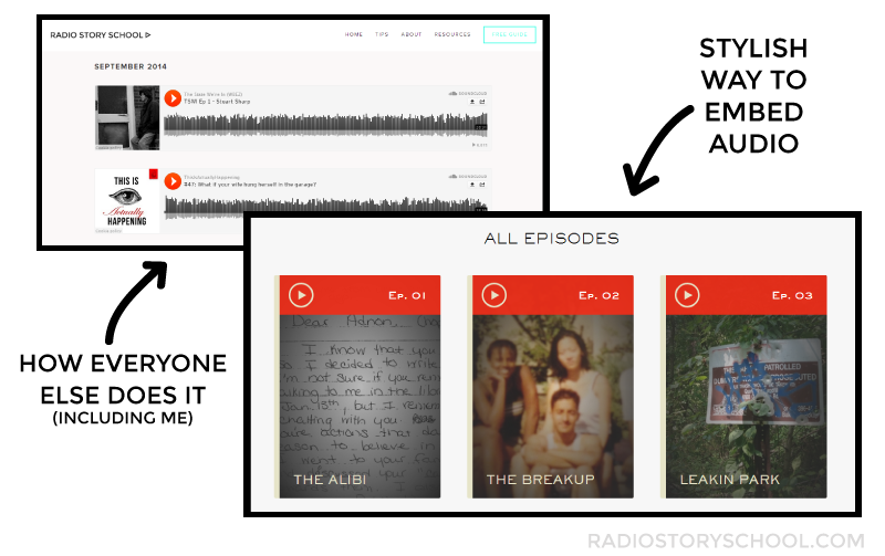 the stylish way the serial podcast embeds their audio on their website