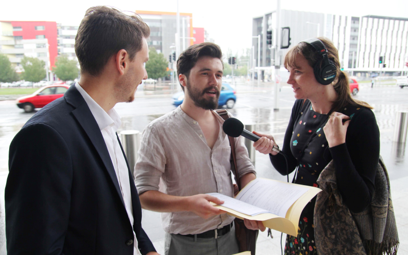 Recording in Canberra outside the AEC office as Nathan and Max try to register the Flux Party