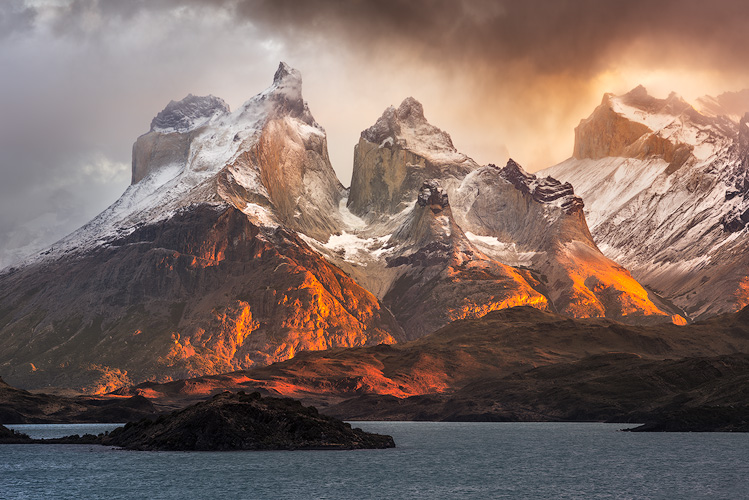 The image of the Horns of Paine (Cuernos del Paine) in Torres del Paine National Park.