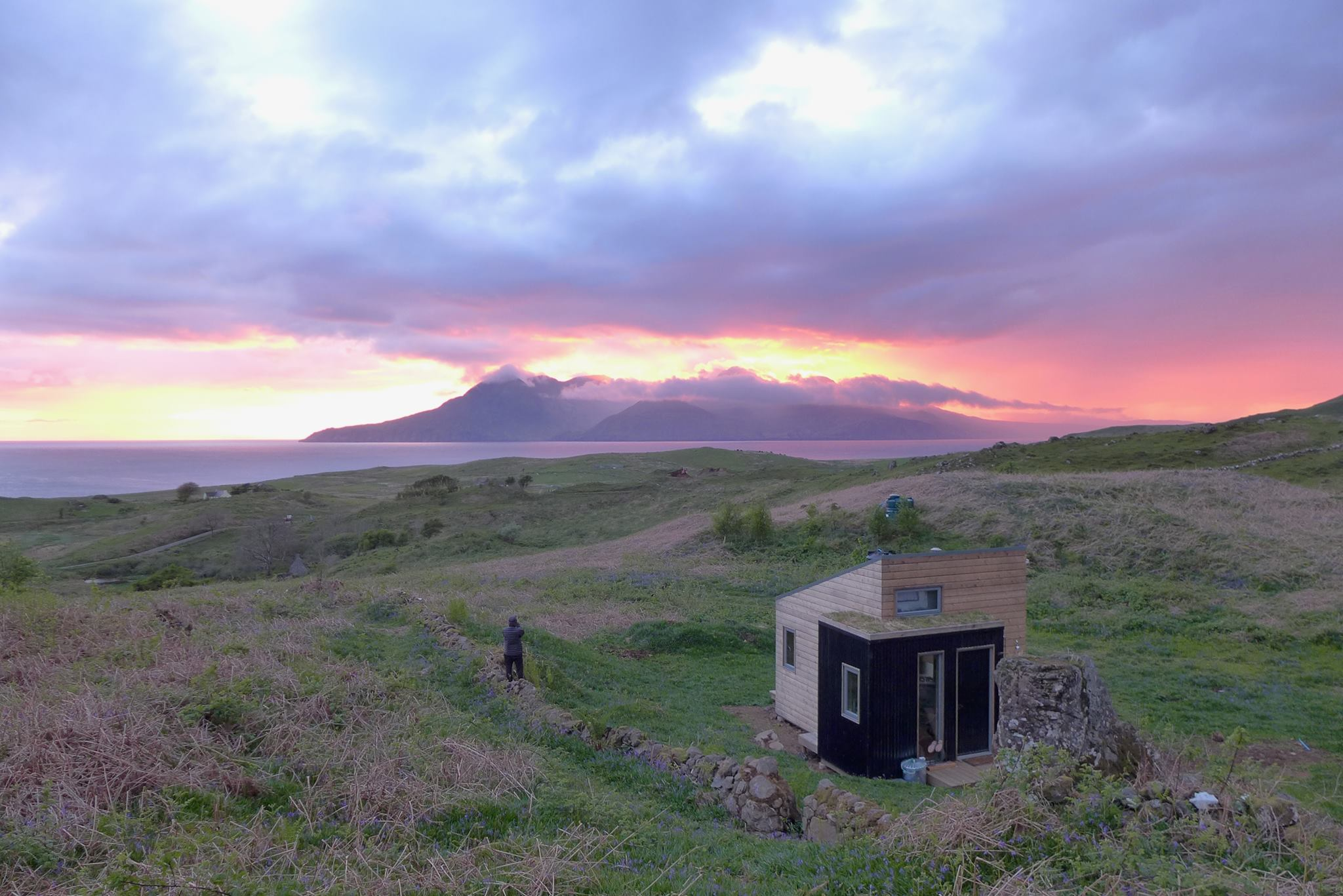 Sweeney's Bothy views of Rum and sunsets