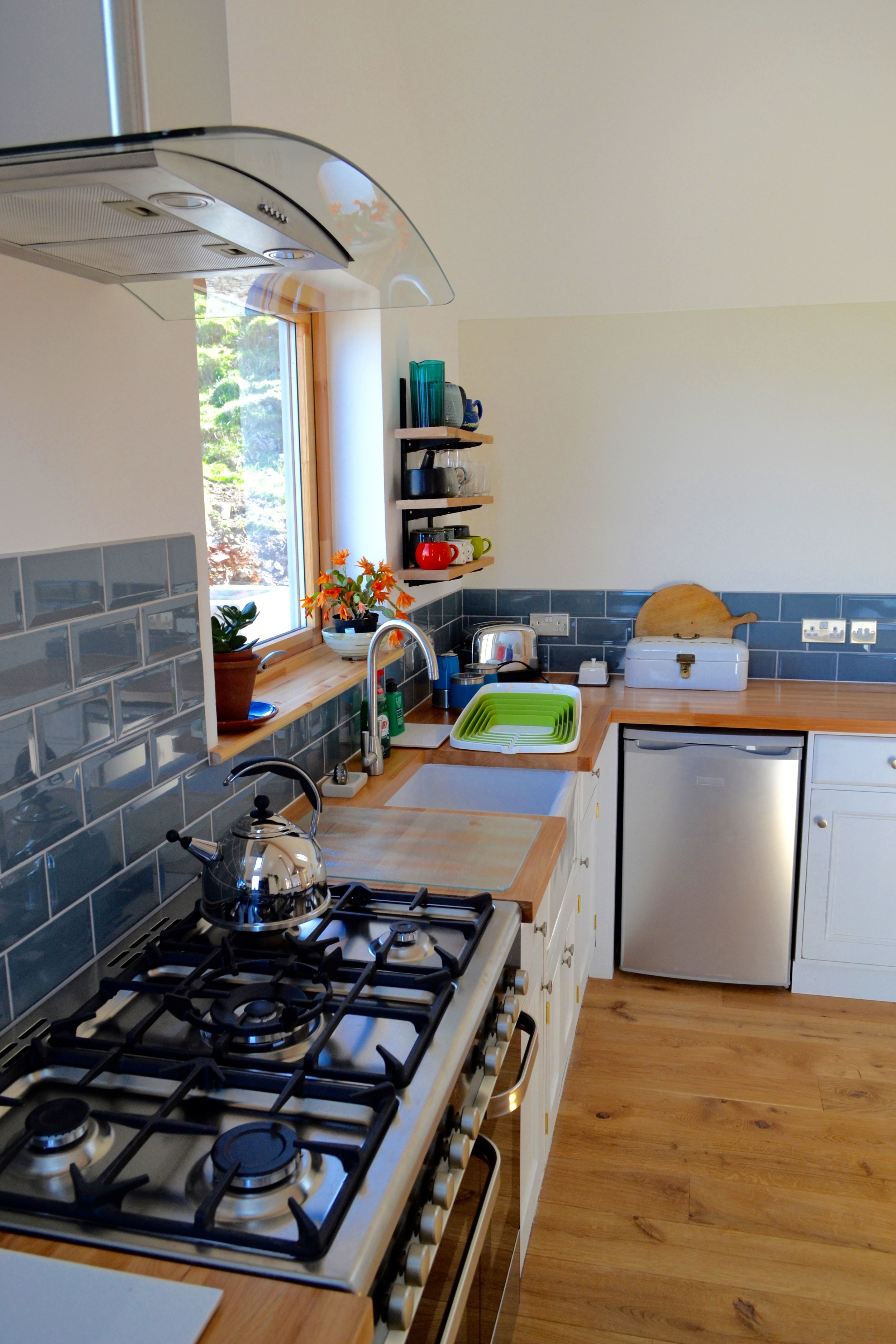 Kitchen with view to Cleadale cliffs