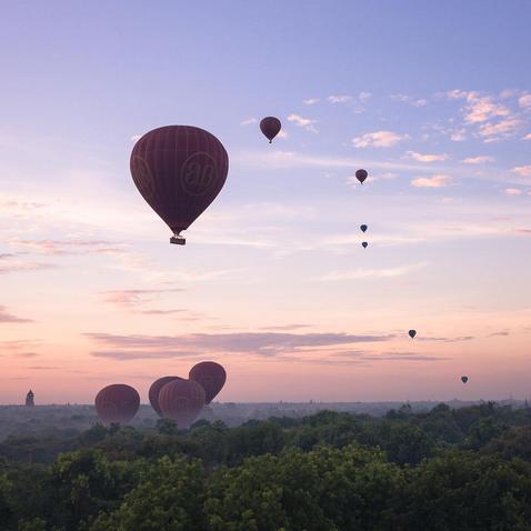 "Bagan, Mandalay, Burma. ""Up, up and away. An archive shot of my balloon journey over Bagan"""