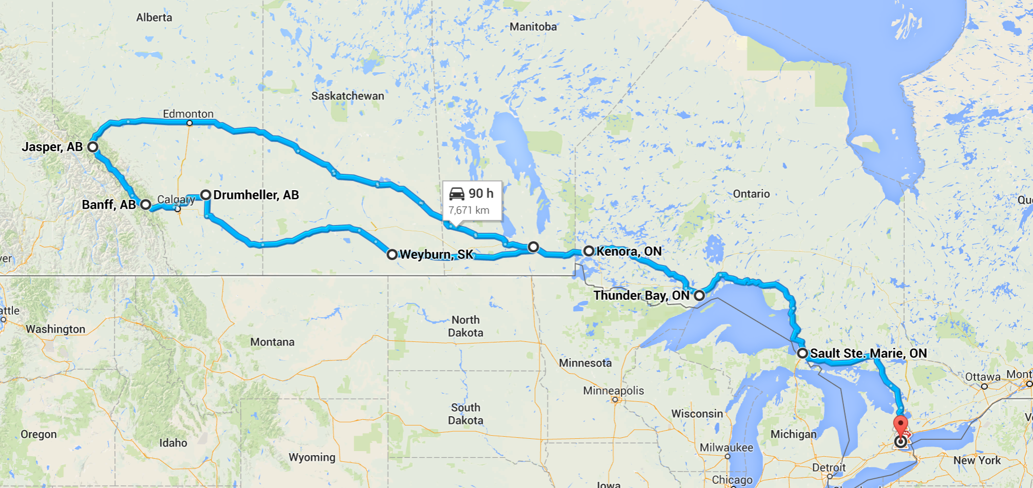 Our route to Alberta!