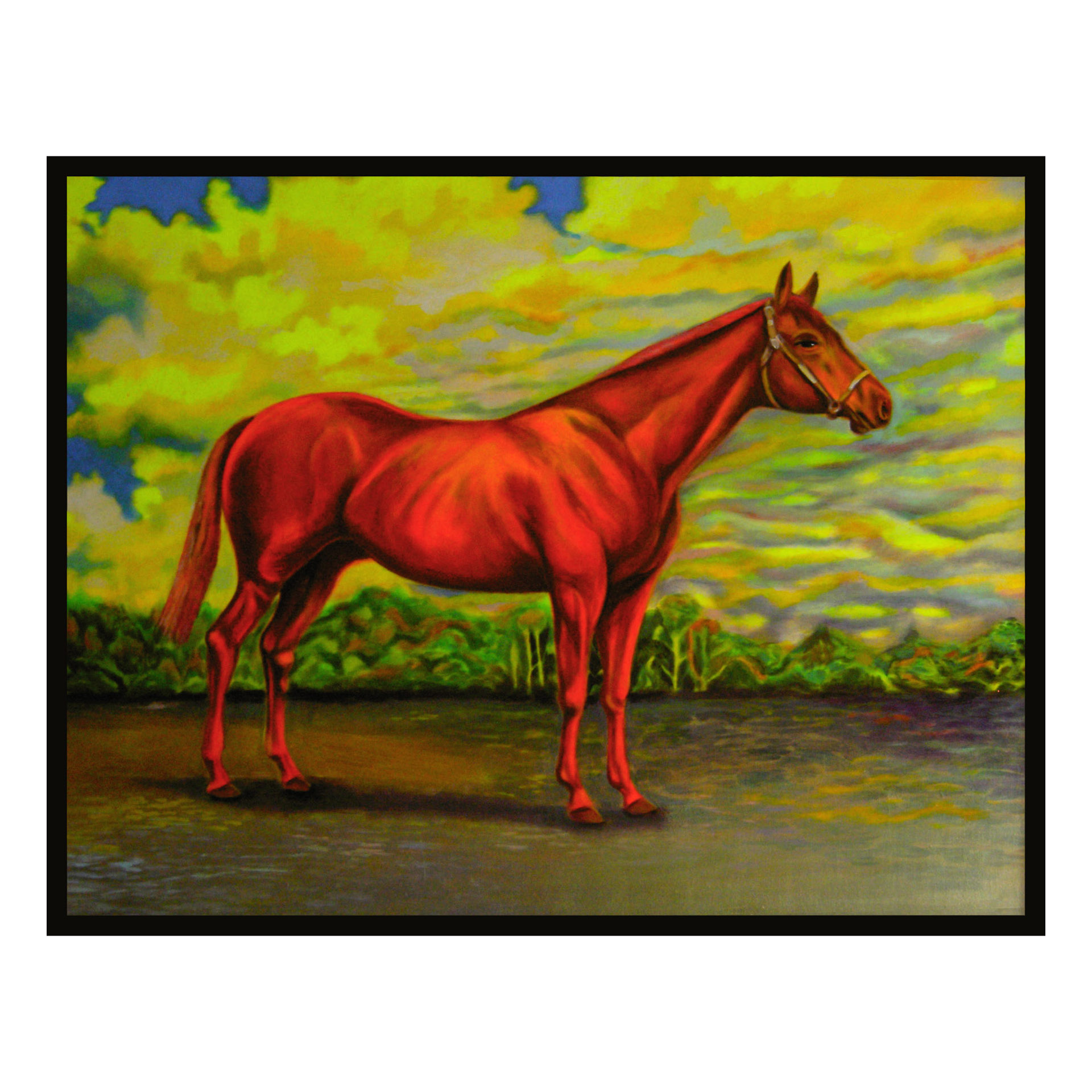 """Red Horse"", fluorescent paint on board -  2012  27""x33"""
