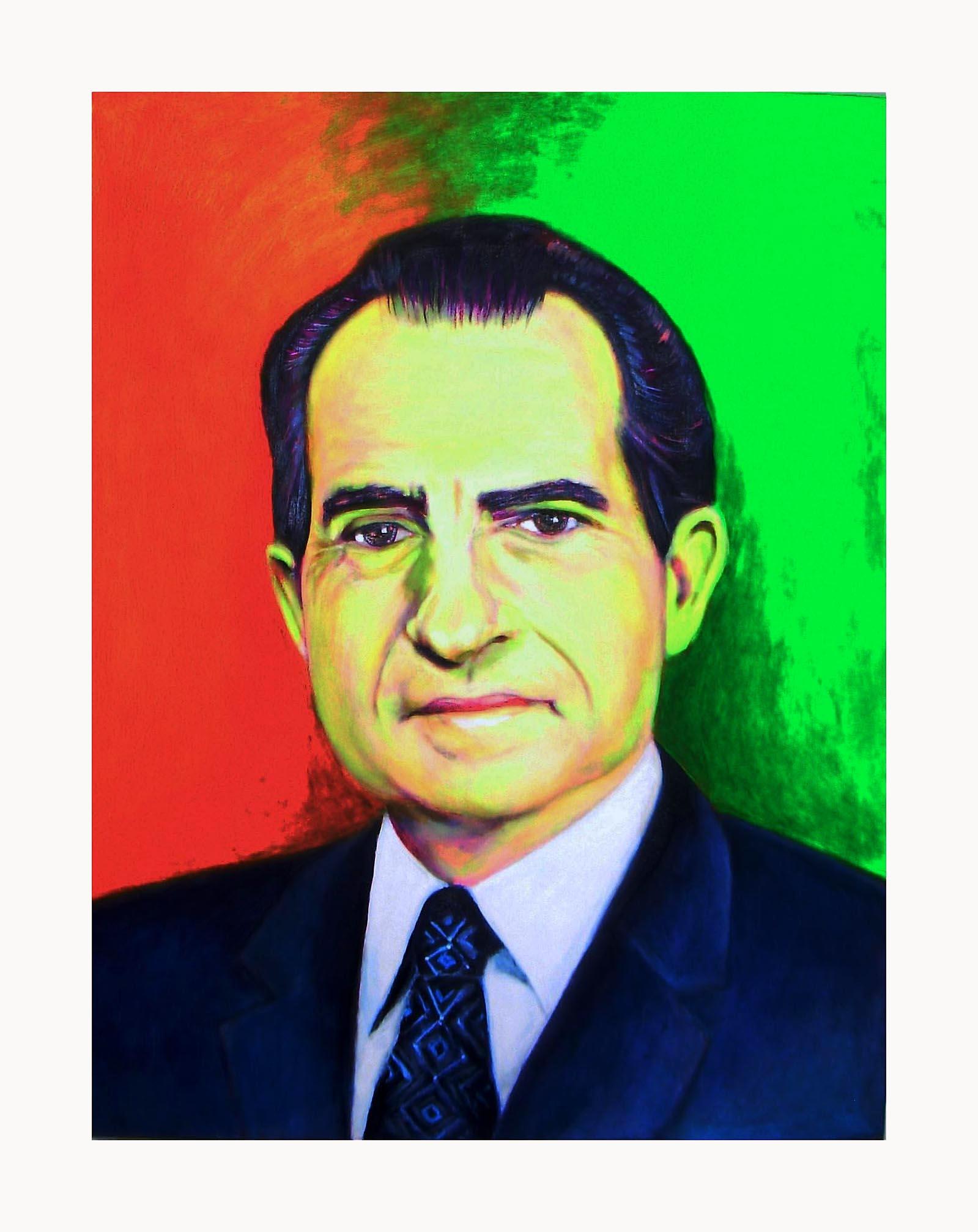 """Nixon"", fluorescent paint on canvas - 2012 10""x14"""