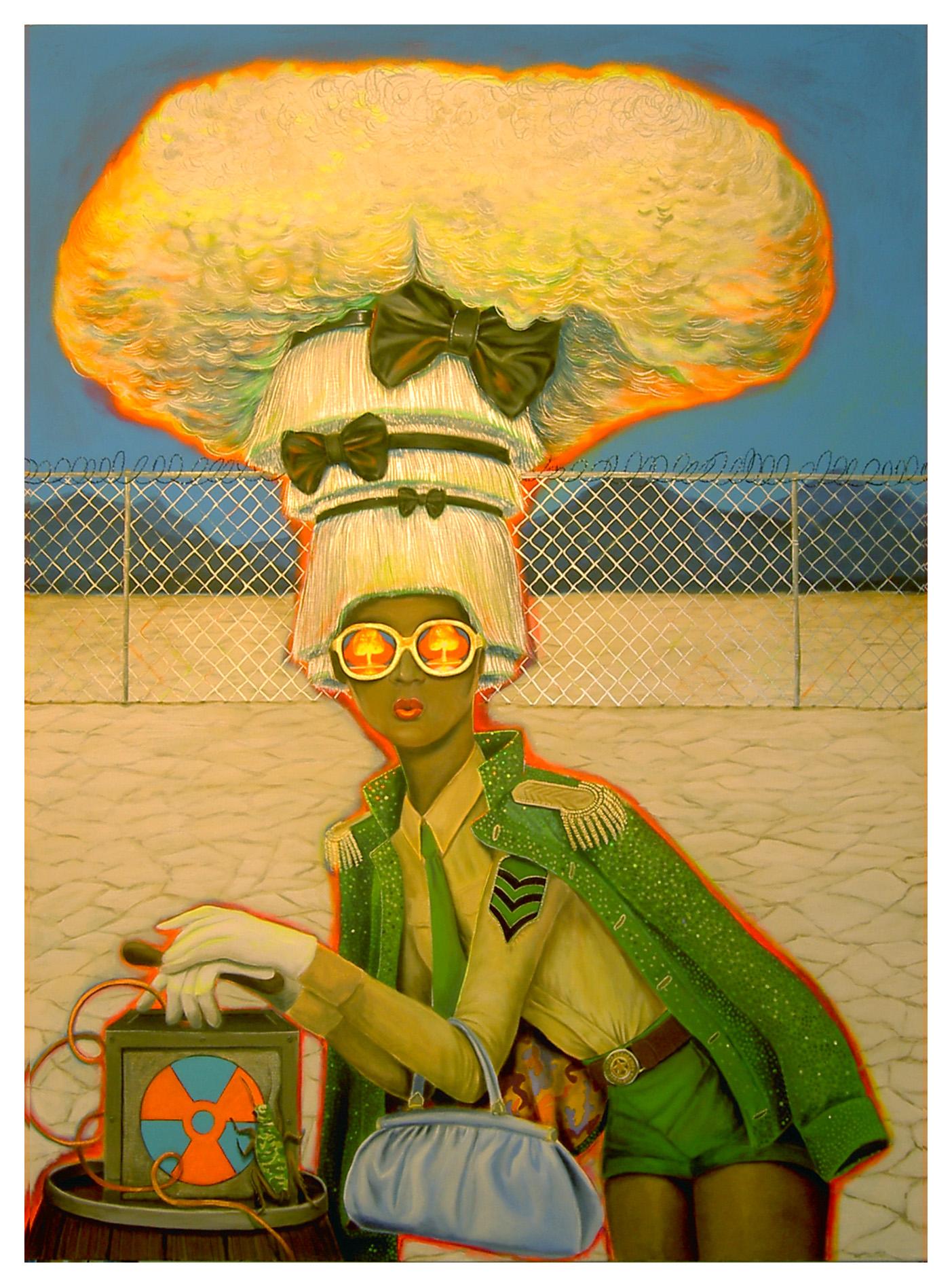 """Fear of Nuclear Bombs"", house paint on canvas - 2012 4'x6'"