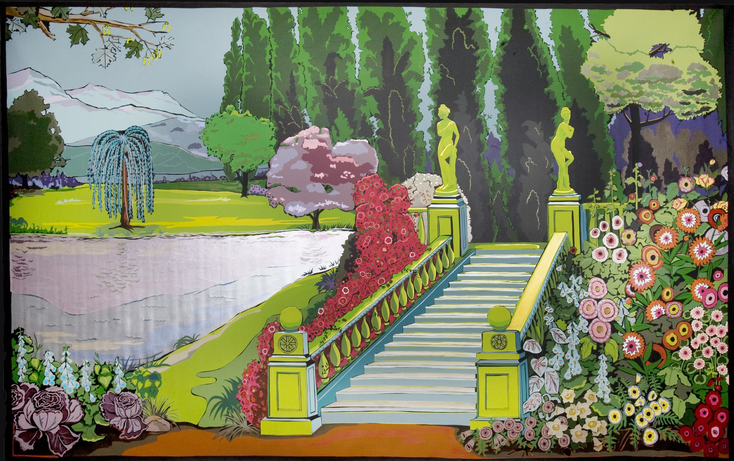 """""""The Garden"""", house and metallic paint on canvas - 2008 102"""" x 140"""""""