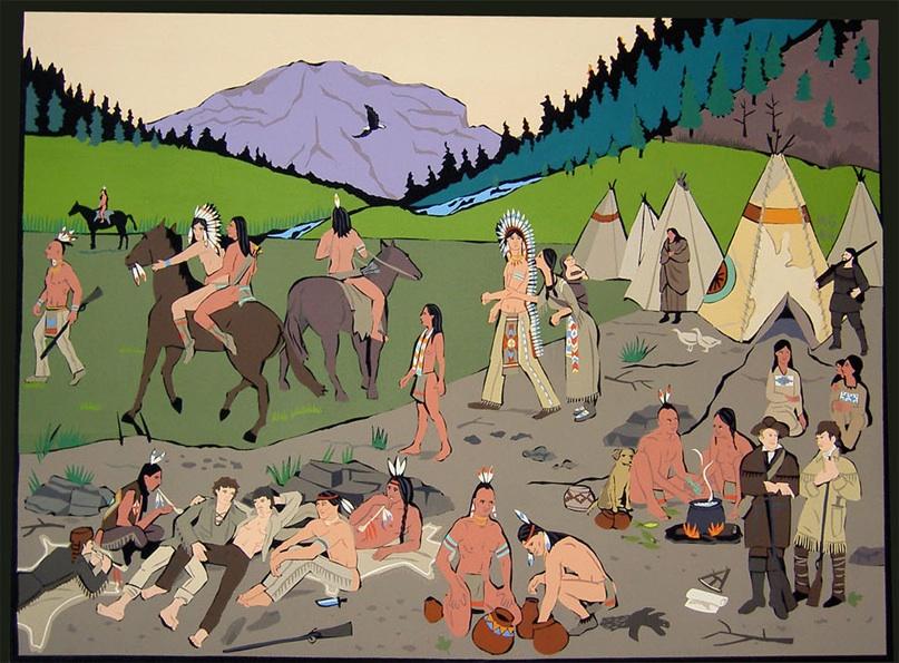 """""""Sacajeweha"""", acrylic on canvas 2006 36""""x48"""""""