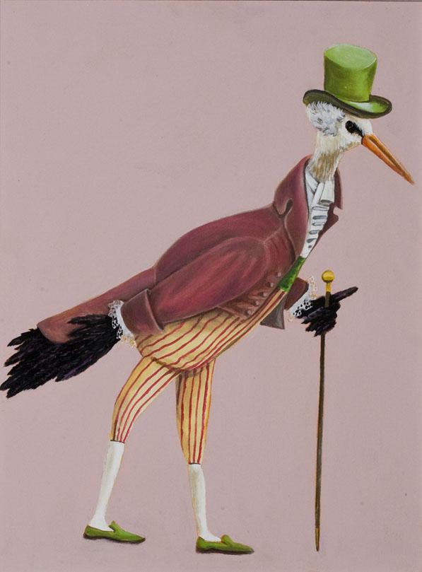 """""""Crane Dandy"""", house paint on canvas - 2012"""