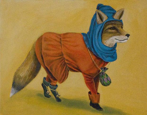 """Medieval Fox"", house paint on canvas - 2012"