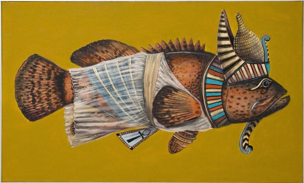 """Egyptian Fish"", house paint on canvas - 2012"